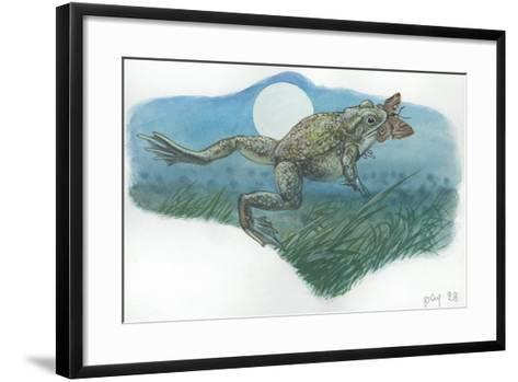 Common Midwife Toad Alytes Obstetricans Catching Butterfly at Night--Framed Art Print