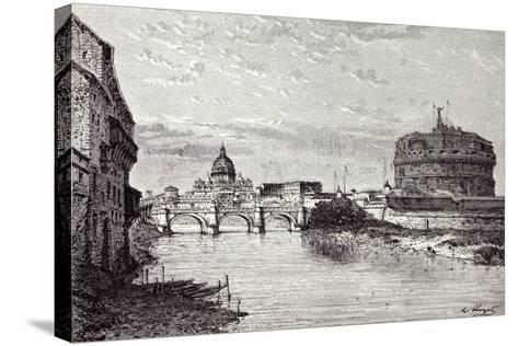 Rome Italy 1875 Mole of Adrian Banks of the Tiber Between Ripetta and the Bridge Od St. Angelo--Stretched Canvas Print