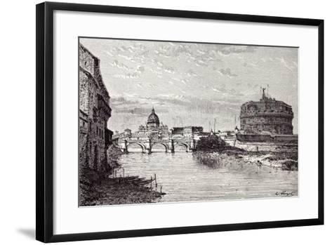Rome Italy 1875 Mole of Adrian Banks of the Tiber Between Ripetta and the Bridge Od St. Angelo--Framed Art Print