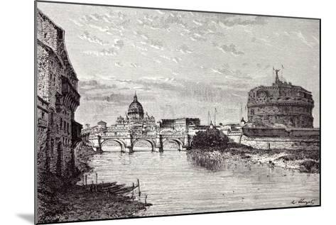 Rome Italy 1875 Mole of Adrian Banks of the Tiber Between Ripetta and the Bridge Od St. Angelo--Mounted Giclee Print