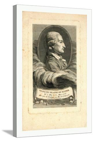 Oval Head-And-Shoulders Profile Portrait of French Balloonist Jean-François Pilâtre De Rozier--Stretched Canvas Print