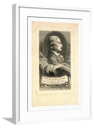 Oval Head-And-Shoulders Profile Portrait of French Balloonist Jean-François Pilâtre De Rozier--Framed Art Print