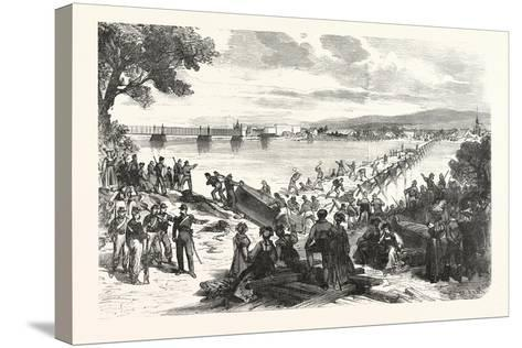 Franco-Prussian War: French Soldiers Break Down the Ship's Bridge over the Rhine at Kehl--Stretched Canvas Print