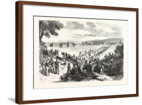 Franco-Prussian War: French Soldiers Break Down the Ship's Bridge over the Rhine at Kehl--Framed Art Print