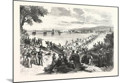 Franco-Prussian War: French Soldiers Break Down the Ship's Bridge over the Rhine at Kehl--Mounted Giclee Print