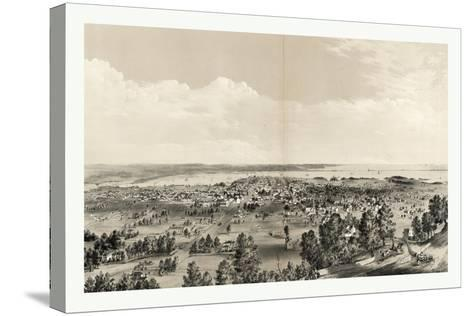 Bird's Eye View of Hamilton, Ontario, Canada, in 1859, Showing Harbor in the Distance--Stretched Canvas Print