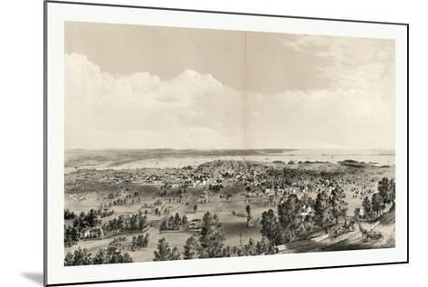 Bird's Eye View of Hamilton, Ontario, Canada, in 1859, Showing Harbor in the Distance--Mounted Giclee Print