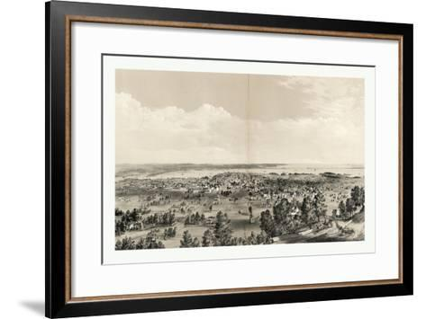 Bird's Eye View of Hamilton, Ontario, Canada, in 1859, Showing Harbor in the Distance--Framed Art Print