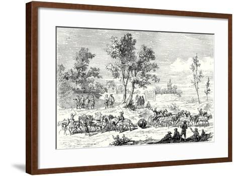 Otto Von Guericke Conducts the Experiment of the Magdeburg Hemispheres with 24 Horses--Framed Art Print