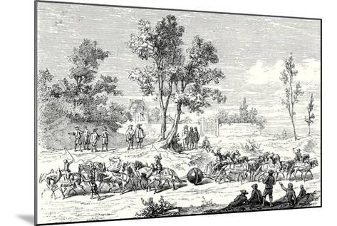 Otto Von Guericke Conducts the Experiment of the Magdeburg Hemispheres with 24 Horses--Mounted Giclee Print