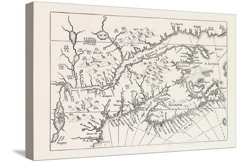 Map of Canada and Nova Scotia, from Joannes De Salt's America Utriusque Descriptio, 1633, 1870S--Stretched Canvas Print