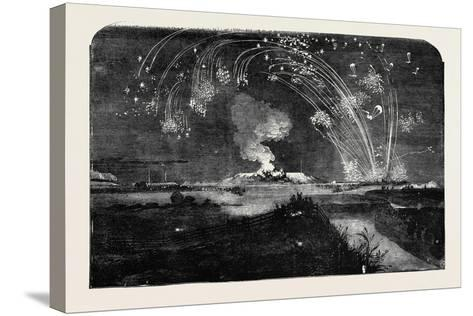 News of the Fall of Sebastopol, Shower of Parachute Rockets and Bonfire, in Woolwich Marshes--Stretched Canvas Print