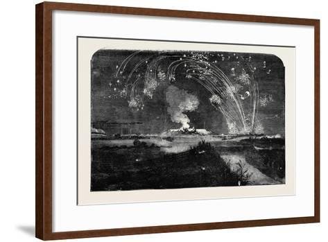 News of the Fall of Sebastopol, Shower of Parachute Rockets and Bonfire, in Woolwich Marshes--Framed Art Print