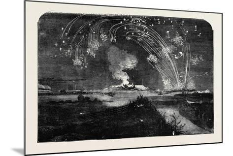 News of the Fall of Sebastopol, Shower of Parachute Rockets and Bonfire, in Woolwich Marshes--Mounted Giclee Print