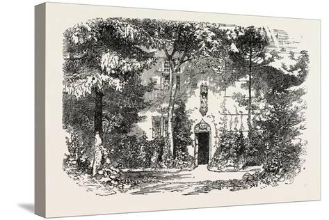 House and Statue of Joan of Arc, Jean D'Arc, at Domremy, Domremy-La-Pucelle, France, 1865--Stretched Canvas Print