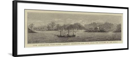 The Ashantee War, HMS Argus Guarding Dix Cove from the Attacks of the Enemy--Framed Art Print