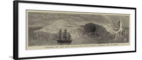 Collision Off Cape Horn Between the British Barque Columbus and an Iceberg--Framed Art Print