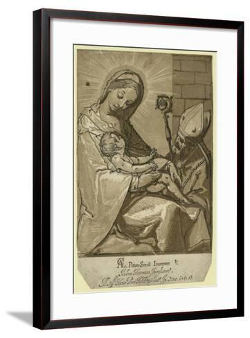 The Virgin, Child, and a Bishop, Andreani, Andrea, Approximately 1560-1623--Framed Art Print