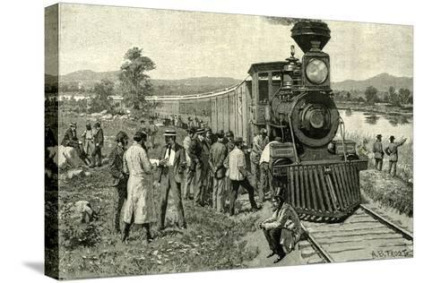 From Portland to the Yellowstone Park. a Breakdown on the Line 1891 Usa--Stretched Canvas Print