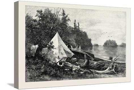 The Upper Lakes, Camp on Victoria Island, Canada, Nineteenth Century--Stretched Canvas Print