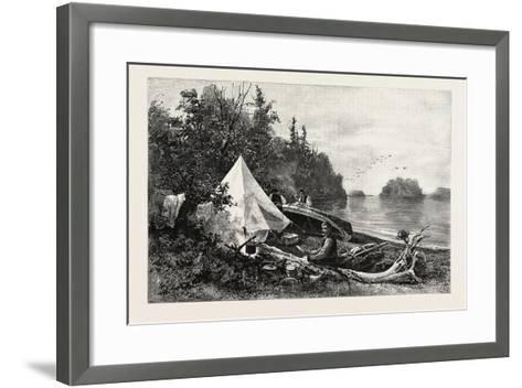 The Upper Lakes, Camp on Victoria Island, Canada, Nineteenth Century--Framed Art Print