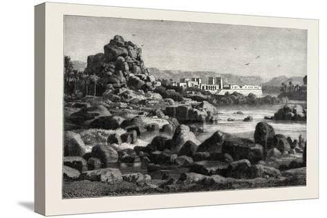 The First Cataract of the Nile and the Island of Phile Egypt, 1882--Stretched Canvas Print