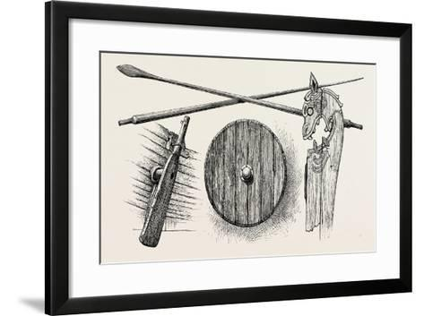 The Viking's Ship: the Rudder, Oars, a Shield and One of the Tilt-Heads--Framed Art Print