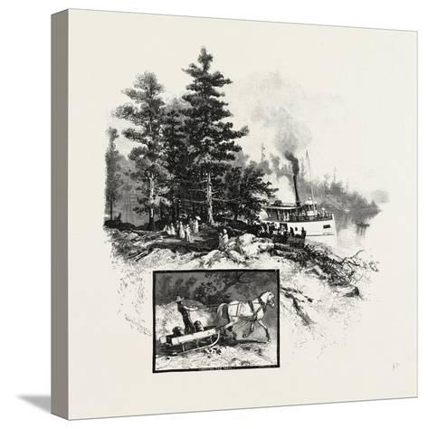 Georgian Bay and the Muskoka Lakes, at the Landing, Rosseau, Canada, Nineteenth Century--Stretched Canvas Print