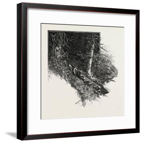 Portaging a Boat, the Practice of Carrying a Water Craft, Canada, Nineteenth Century--Framed Art Print