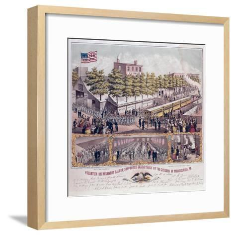 The Volunteer Refreshment Saloon Supported Gratuitously by the Citizens of Philadelphia--Framed Art Print