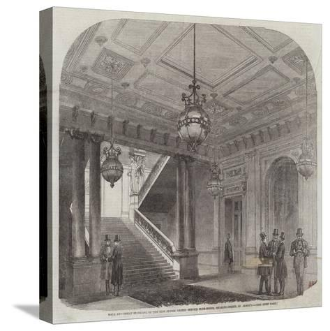 Hall and Great Staircase of the New Junior United Service Club-House, Charles-Street, St James'S--Stretched Canvas Print