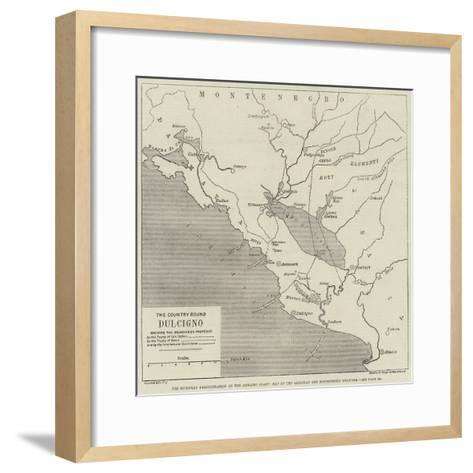 The European Demonstration on the Adriatic Coast, Map of the Albanian and Montenegrin Frontier--Framed Art Print