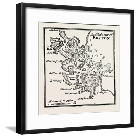 Plan of the Harbour of Boston at the Beginning of the 18th Century, USA, 1870S--Framed Art Print