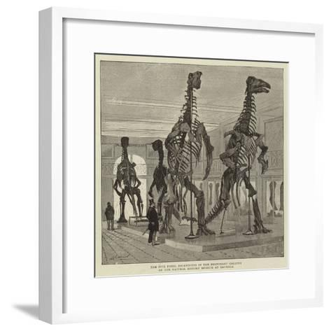 The Five Fossil Iguanodons in the Bernissart Gallery of the Natural History Museum at Brussels--Framed Art Print