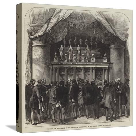 Pilgrims at the Shrine of St Edmund of Canterbury, in the Abbey Church of Pontigny--Stretched Canvas Print