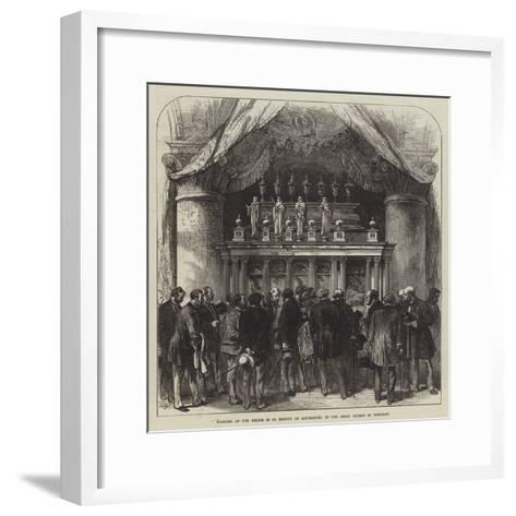 Pilgrims at the Shrine of St Edmund of Canterbury, in the Abbey Church of Pontigny--Framed Art Print