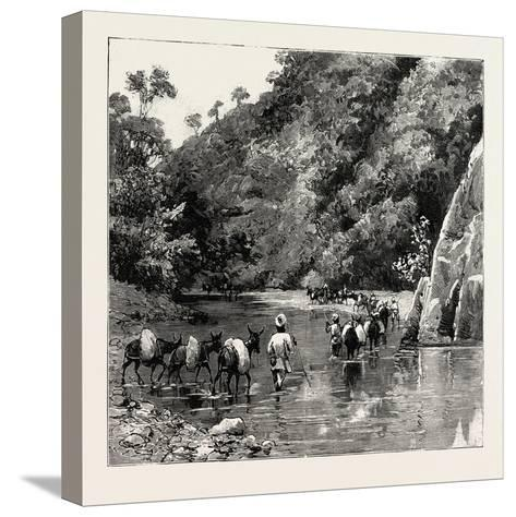 The Chin Lushai Expeditionary Force, a Mule Convoy Crossing the Loung Gut Choung Stream, 1890--Stretched Canvas Print