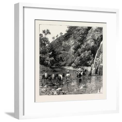 The Chin Lushai Expeditionary Force, a Mule Convoy Crossing the Loung Gut Choung Stream, 1890--Framed Art Print