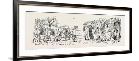 Our Great Football Match, Pelicans Versus Phantoms: Vanquished (Left), Victors (Right)--Framed Art Print