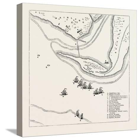 Plan of Attack on Sullivan's Island, from Faden's Atlas, USA, 1870S--Stretched Canvas Print