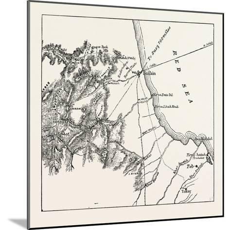 Map Showing the Place Where Baker Pasha Was Defeated February 4 1884 and the Routes from the Coast --Mounted Giclee Print
