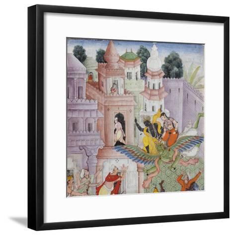 Detail from Krishna Cleaves the Demon Narakasura with His Discus, C.1585-90--Framed Art Print