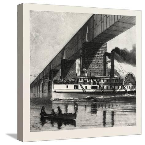 Montreal, Mail Steamer Passing under Victoria Bridge, Canada, Nineteenth Century--Stretched Canvas Print