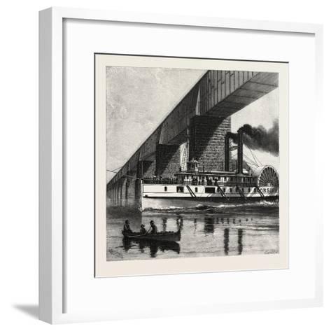 Montreal, Mail Steamer Passing under Victoria Bridge, Canada, Nineteenth Century--Framed Art Print