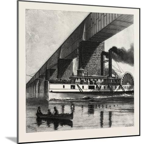 Montreal, Mail Steamer Passing under Victoria Bridge, Canada, Nineteenth Century--Mounted Giclee Print