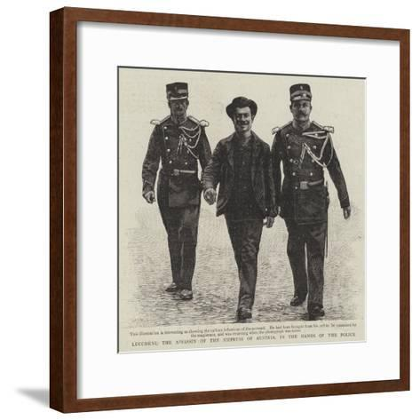 Luccheni, the Assassin of the Empress of Austria, in the Hands of the Police--Framed Art Print