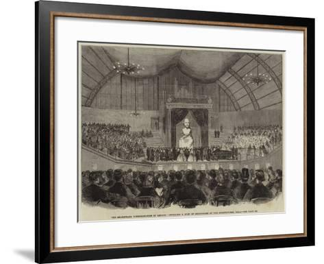 The Shakespeare Commemoration in London, Unveiling a Bust of Shakespeare at the Agricultural Hall--Framed Art Print