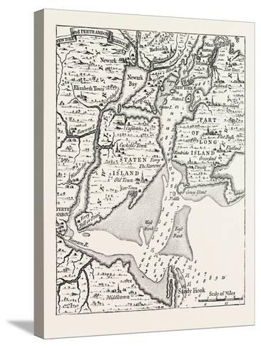 Map of New York About the Middle of the Eighteenth Century, from Popple's Atlas, USA, 1870S--Stretched Canvas Print