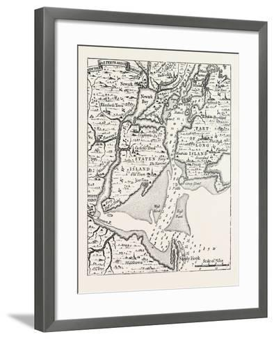 Map of New York About the Middle of the Eighteenth Century, from Popple's Atlas, USA, 1870S--Framed Art Print
