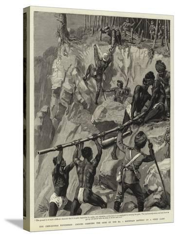 The Chin-Lushai Expedition, Coolies Carrying the Guns of the No 1 Mountain Battery Up a Steep Cliff--Stretched Canvas Print